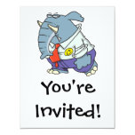 "funny sad put on happy face elephant cartoon 4.25"" x 5.5"" invitation card"