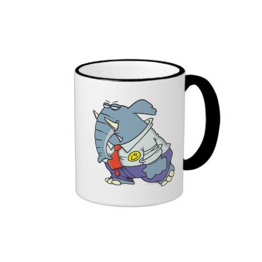 funny sad put on happy face elephant cartoon ringer mug