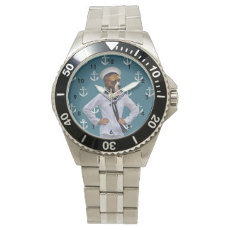 Funny sailor dog character watch