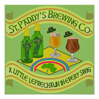 Funny Saint Patrick s Day Leprechaun Brewery Poster