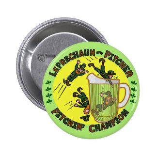 Funny Saint Patrick s Day Leprechaun Pitcher Pinback Buttons