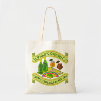 Funny Saint Patrick's Day Leprechaun Brewery Budget Tote Bag