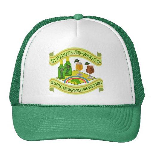 Funny Saint Patrick's Day Leprechaun Brewery Trucker Hats