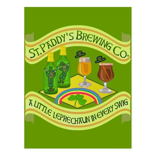 Funny Saint Patrick's Day Leprechaun Brewery Postcard