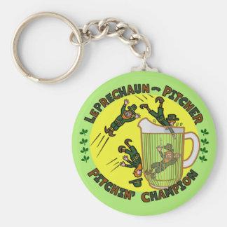 Funny Saint Patrick's Day Leprechaun Pitcher Basic Round Button Key Ring