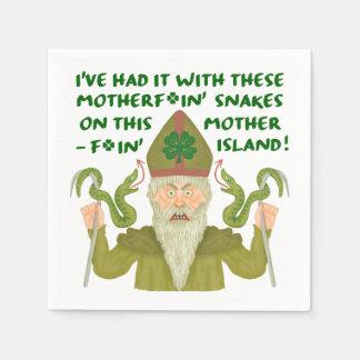 Funny Saint Patrick's Day Snakes Joke Green Irish Disposable Serviette