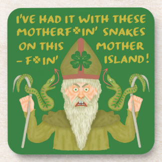 Funny Saint Patrick's Day Snakes Joke Green Irish Drink Coasters