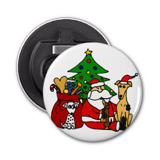 Funny Santa and Dogs Christmas Art Bottle Opener