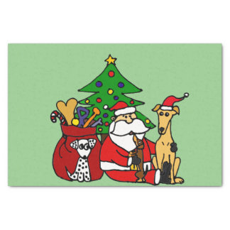 Funny Santa and Dogs Christmas Art Tissue Paper