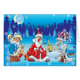 Funny Santa and Goat  Christmas Greeting Card