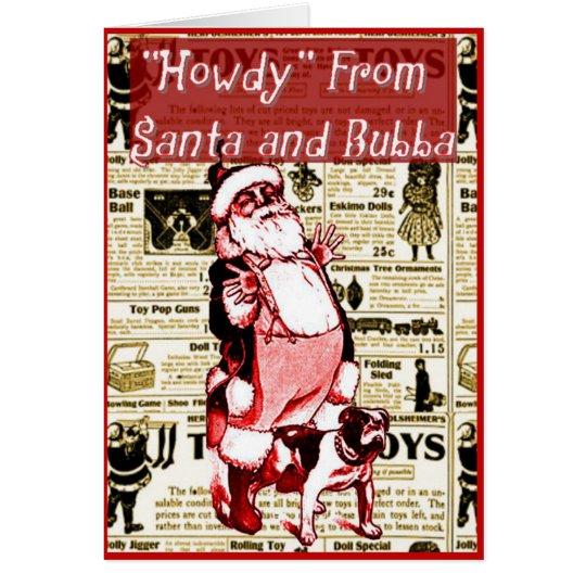 Funny Santa and His Dog Christmas card
