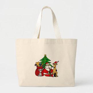Funny Santa and Puppy Dogs Christmas Art Jumbo Tote Bag