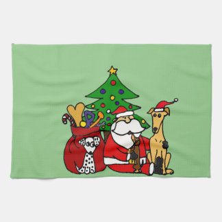 Funny Santa and Puppy Dogs Christmas Art Tea Towel