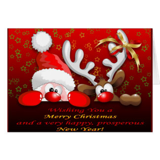 Funny Santa and Reindeer Cartoon Card
