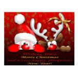 Funny Santa and Reindeer Cartoon Christmas Postcar Postcard