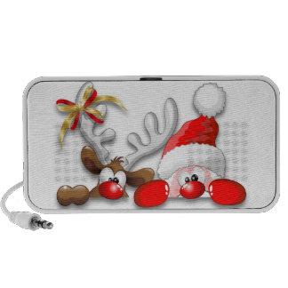 Funny Santa and Reindeer Cartoon Doodle Speaker