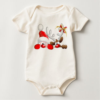 Funny Santa and Reindeer Cartoon Infant T-Shirt