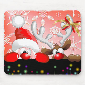 Funny Santa and Reindeer Cartoon Mousepad