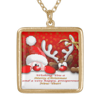 Funny Santa and Reindeer Cartoon Necklace