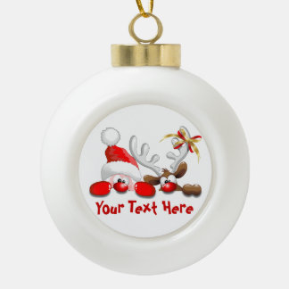 Funny Santa and Reindeer Cartoon Ornament