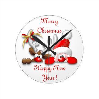 Funny Santa and Reindeer Cartoon Wall Clock