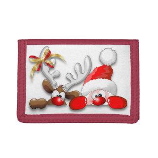 Funny Santa and Reindeer Cartoon wallet