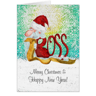 Funny Santa boss Christmas Card