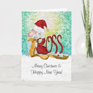 Funny christmas cards greeting cards zazzle uk funny santa boss christmas holiday card m4hsunfo