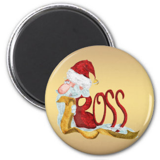Funny Santa boss Christmas Magnet