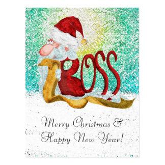 Funny Santa boss Christmas Postcard