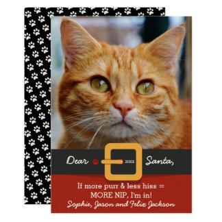 Funny Santa Cat More Purr Less Hiss Photo 13 Cm X 18 Cm Invitation Card