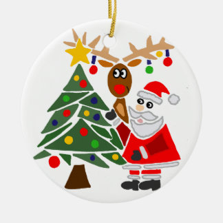 Funny Santa Claus And Reindeer Abstract Round Ceramic Decoration