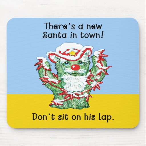 Funny Santa Claus Cactus Christmas Humor Mousepads