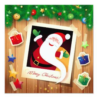 Funny Santa Claus, card 13 Cm X 13 Cm Square Invitation Card