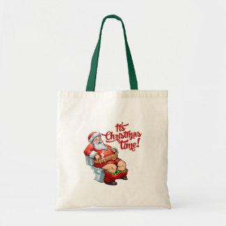 Funny Santa Claus Having a Rough Christmas Canvas Bag
