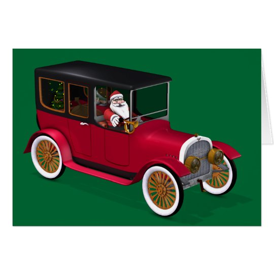Funny Santa Claus In Red Vintage Limousine Card