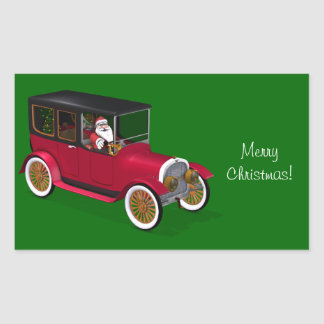 Funny Santa Claus In Red Vintage Limousine Rectangular Sticker