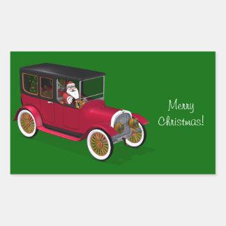 Funny Santa Claus In Red Vintage Limousine Rectangular Sticker