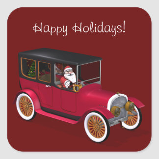 Funny Santa Claus In Red Vintage Limousine Square Sticker