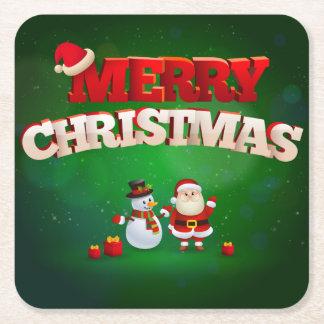 Funny Santa Claus Merry Christmas design Square Paper Coaster