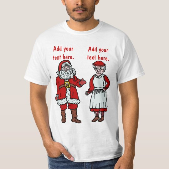 Funny Santa Claus & Mrs Christmas Personalised T-Shirt
