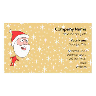 Funny Santa Claus, on Gold Color Star Pattern. Business Cards