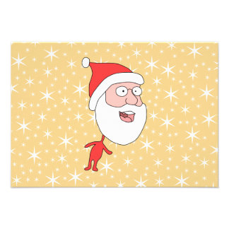 Funny Santa Claus on Gold Color Star Pattern Personalized Invitation