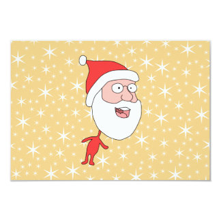 """Funny Santa Claus, on Gold Color Star Pattern. 3.5"""" X 5"""" Invitation Card"""