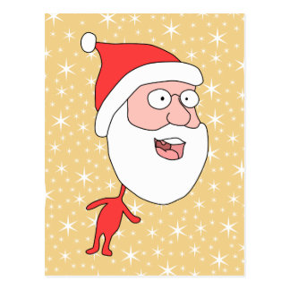 Funny Santa Claus on Gold Color Star Pattern Post Card