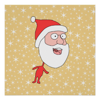 Funny Santa Claus, on Gold Color Star Pattern. Print