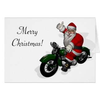 Funny Santa Claus On Green Vintage Motorbike Card