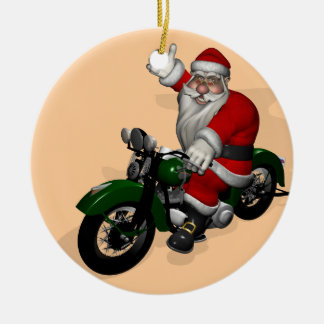 Funny Santa Claus On Green Vintage Motorbike Round Ceramic Decoration