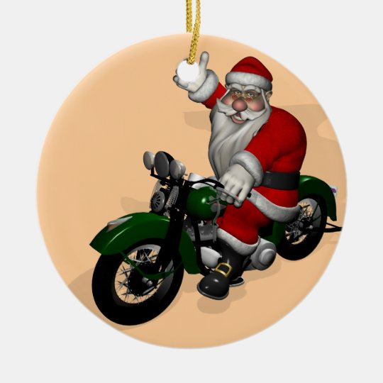Funny Santa Claus On Green Vintage Motorbike Round