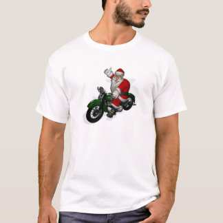 Funny Santa Claus On Green Vintage Motorbike T-Shirt